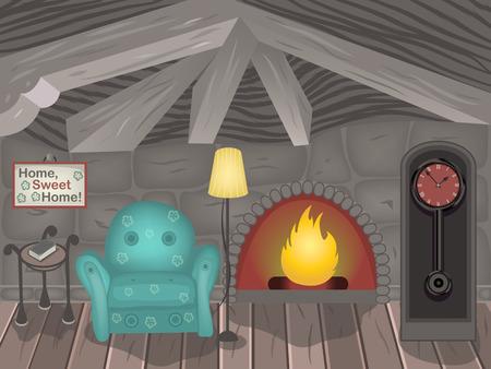 Cartoon vector illustration of a small room.