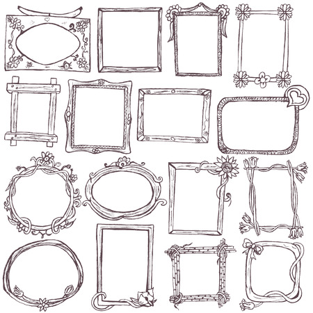 Great collection of different hand drawn frames over white background. Illustration