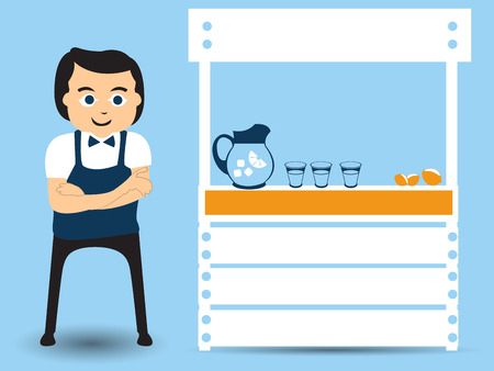 vector illustration of a man standing beside his lemonade stand - small business flat character design. Vector