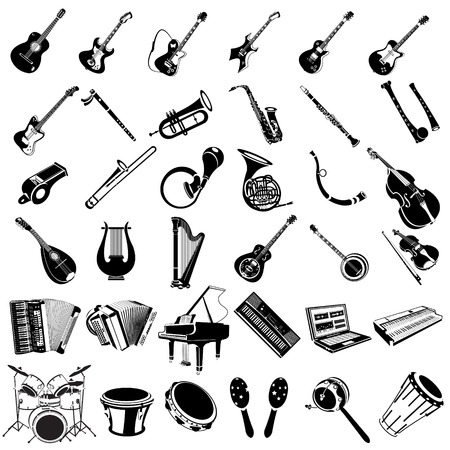 clarinete: Gran colección de diferentes instrumentos musicales iconos negros.