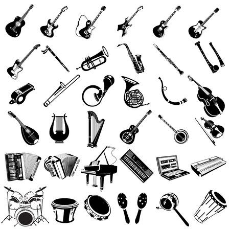 violoncello: Grande collezione di diversi strumenti musicali icone nere. Vettoriali