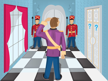 hotel hall: Cartoon Illustration of a hall with guards in front of the door, and a hero who is wandering what to do next.