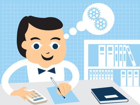 Cartoon vector illustratie van een accountant doet zijn werk op kantoor.