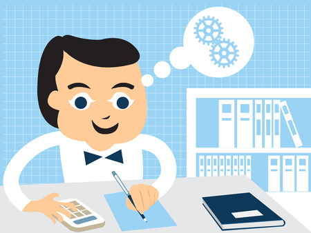 Cartoon vector illustration of an accountant doing his work at the office. Illustration