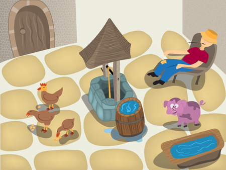 trough: Cartoon vector illustration of a small farm scenery with well.