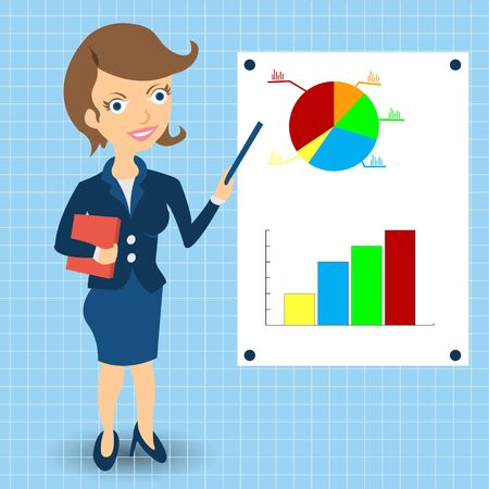 Cartoon businesswoman is explaining something in front of statistic graphs.