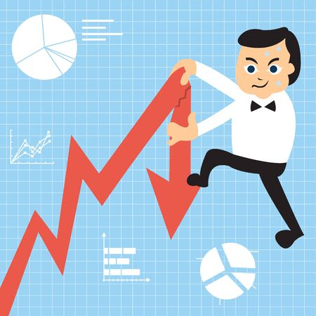 broke: Cartoon businessman is trying to climb up on the growing graph, but he was too heavy so he broke it down. Illustration
