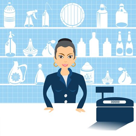salesmen: Vector illustration of a cartoon female salesman beside cash register. Illustration
