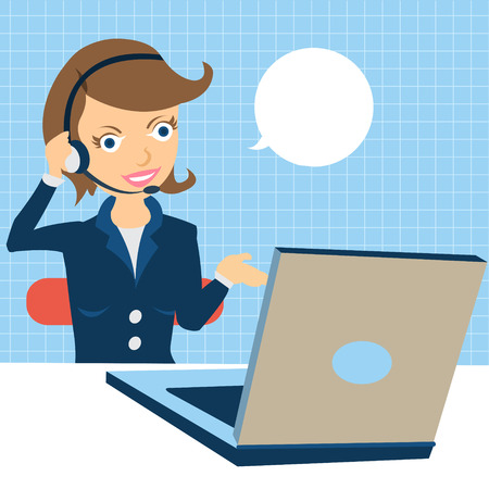 call center female: Cartoon vector illustration of a young female call center operator at the work. Illustration