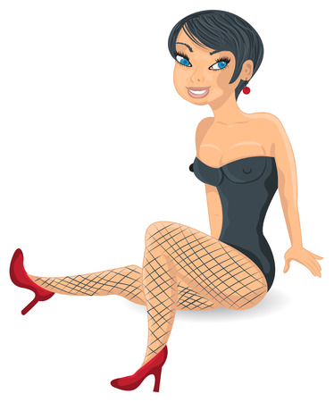 Cartoon vector illustration of a sexy dark haired girl isolated on white background. Illustration