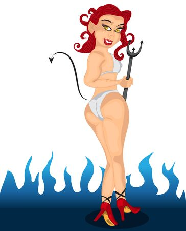 illustration of a sexy pinup redhead  devil girl in a bikini in front of the blue flame. Illustration