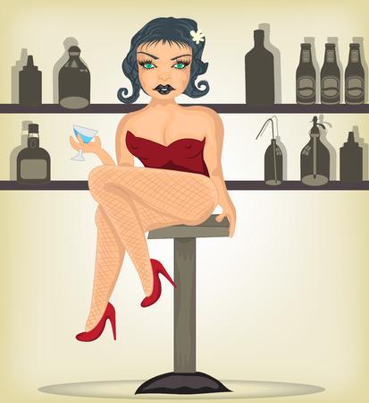 sexy meisje: Sexy meisje met een cocktailglas