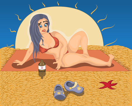 dark haired woman: sunbathing on a beach Illustration
