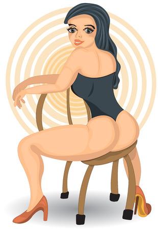 sexy woman: Vector illustration of a cartoon sexy woman sitting in chair. Illustration