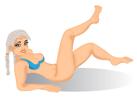 sexy girls: Vector illustration of a cartoon sexy young female with white hair.