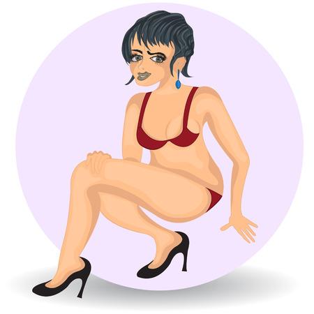 bikini model: Vector illustration of a cartoon sexy woman in high heels
