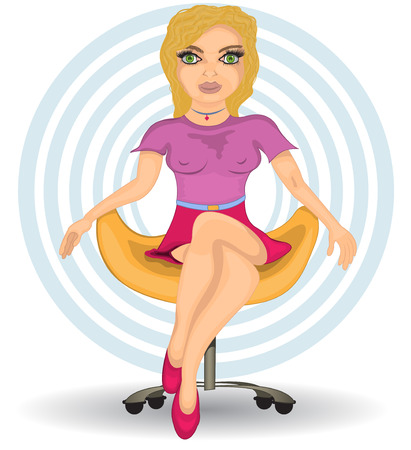 modern chair: Cartoon vector illustration of a young blond female sitting on a modern chair. Illustration