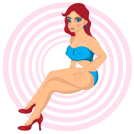 red haired person: Cartoon redhead sexy girl Illustration