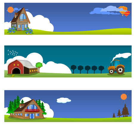 rural road: vector illustration set of three different country banners