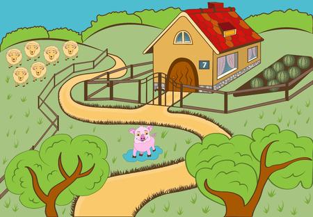 farm animal: vector illustration of a cartoon countryside landscape view.