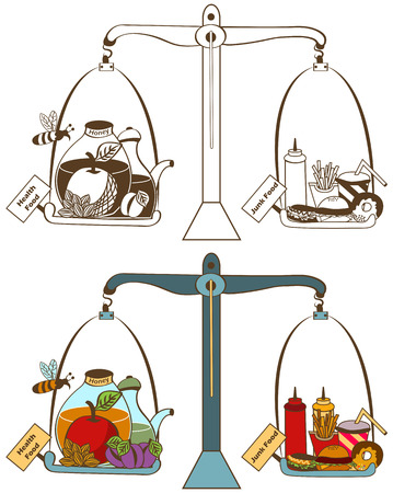 temptation: vector illustration of health and junk food on the balance - colored and mono colored version