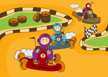 kart: vector illustration of happy kids in a kart racing