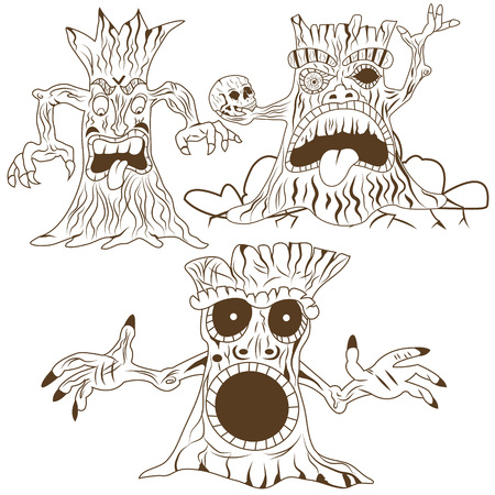 mono color: vector illustration of three different cartoon spooky trees - mono color.