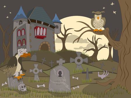 abandoned: Cartoon vector illustration of an abandoned graveyard, along with haunted mansion. Illustration