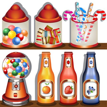 candy store: Cartoon vector illustration of a candy store shelf.