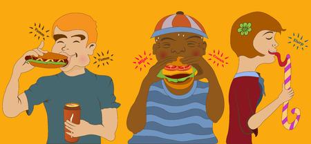 kids eating: Cartoon vector illustration of kids eating junk food.