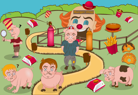 too much: Cartoon vector illustration of kids transforming to pigs, because they have eaten too much junk food!