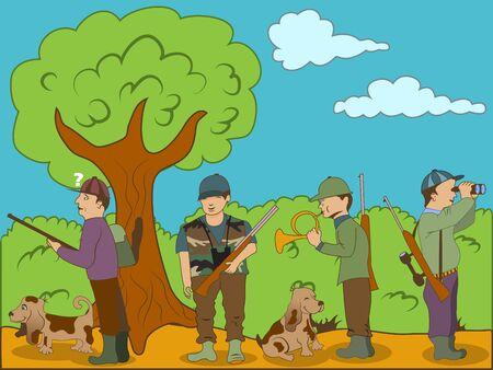 cazador: Ilustración vectorial de los cazadores con sus perros.