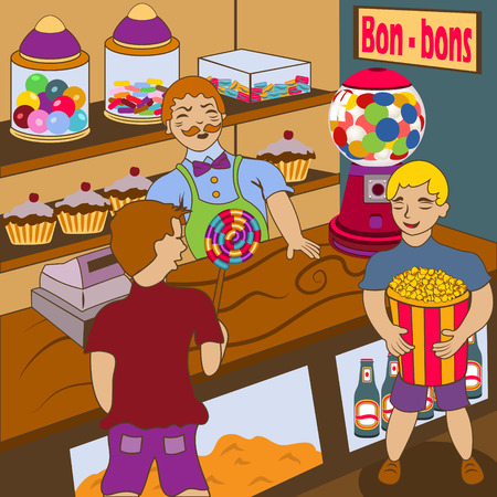 confectioner: Cartoon vector illustration of a candy shop with customer kids. Illustration