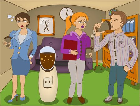 employers: Vector illustration of three cartoon office employers enjoying on a coffee break.