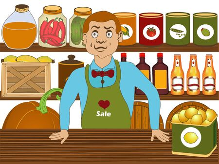 Vector illustration of a grocery salesman in his store shop.