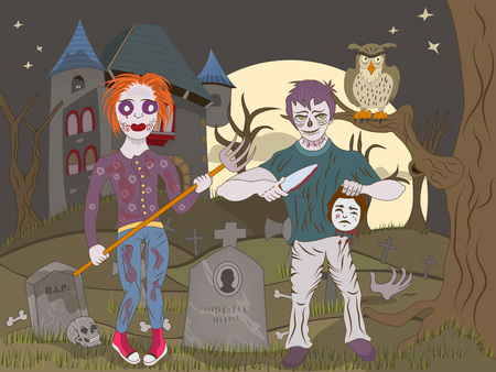 walking corpse: Vector illustration of two zombie kids on an abandoned graveyard.