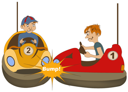 chauffeurs: Vector illustration of two teenage bumper car drivers bumping each other. Illustration