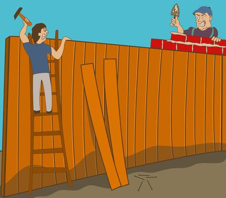 Twee buren in de oorlog bouwt twee verschillende hekken op hun grond. Stock Illustratie