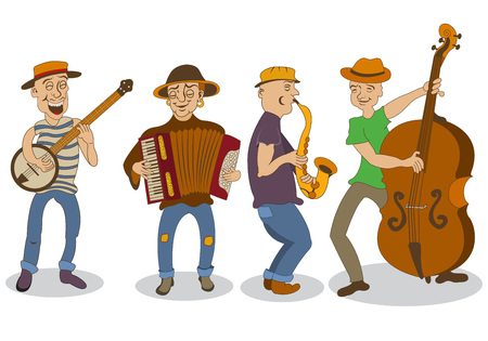 vector clip art: Collection of four different street musicians, isolated over white background.