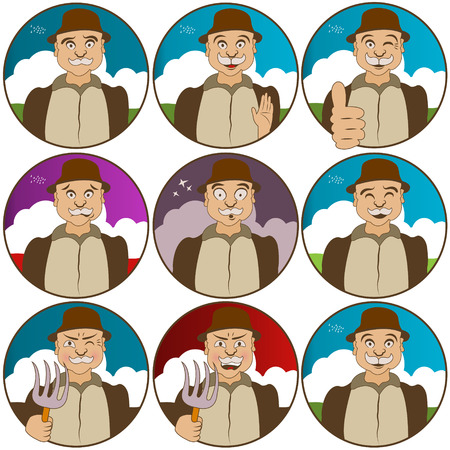 villager: Collection of nine different nine face  expressions - villager