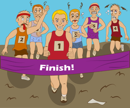 finally: Funny vector illustration of a group of marathon runners, finally coming to the finish.