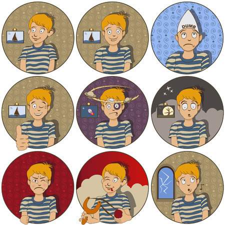 doubtful: Collection of nine different nine face  expressions - a young boy