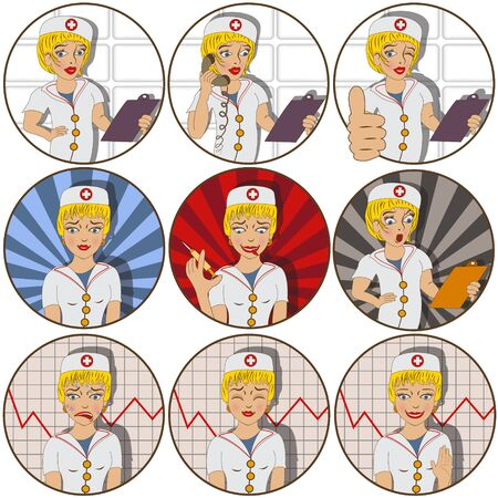 irritation: Vector collection of nine different cartoon nurse stickers - face emotions.