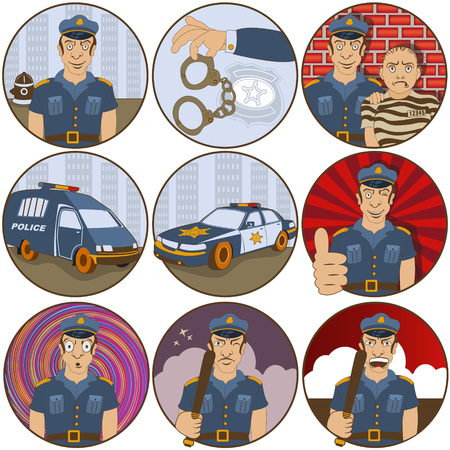 displeased: Vector collection of nine different cartoon police stickers - face emotions.