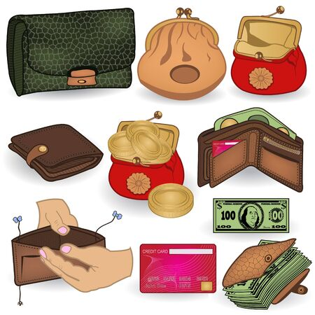 paper currency: Vector collection of different wallet colored icons.