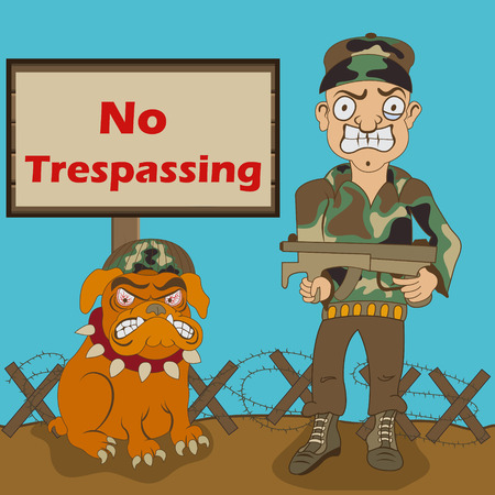 no trespassing: Cartoon vector illustration of a military armed man and his dog, with a No trespassing sign. Illustration