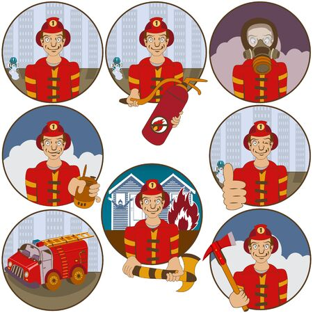 reconciliation: Vector collection of nine different cartoon fireman stickers - face emotions.