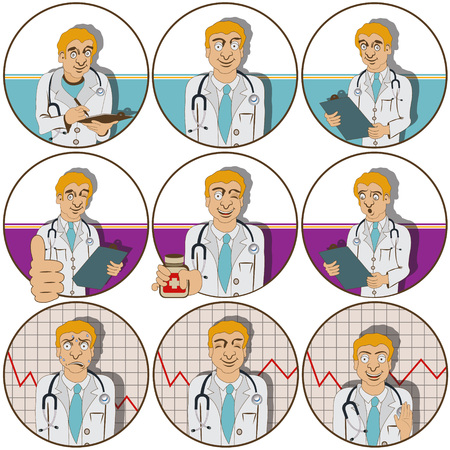 facial expression: Vector illustration of nine different doctor funny stickers  - face expressions.