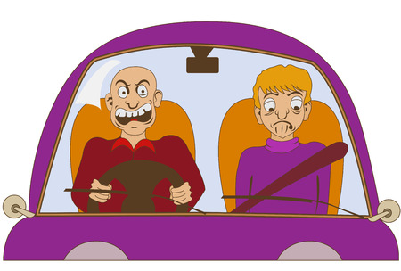 attentive: Funny illustration of a nervous driver without a seat belt is yelling at something, while his passenger is looking sad.