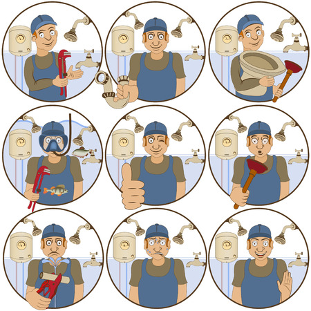 reconciliation: Vector illustration of nine different plumber funny stickers - face expressions.